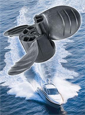 Piranha motorboat propeller made from long fiber composite